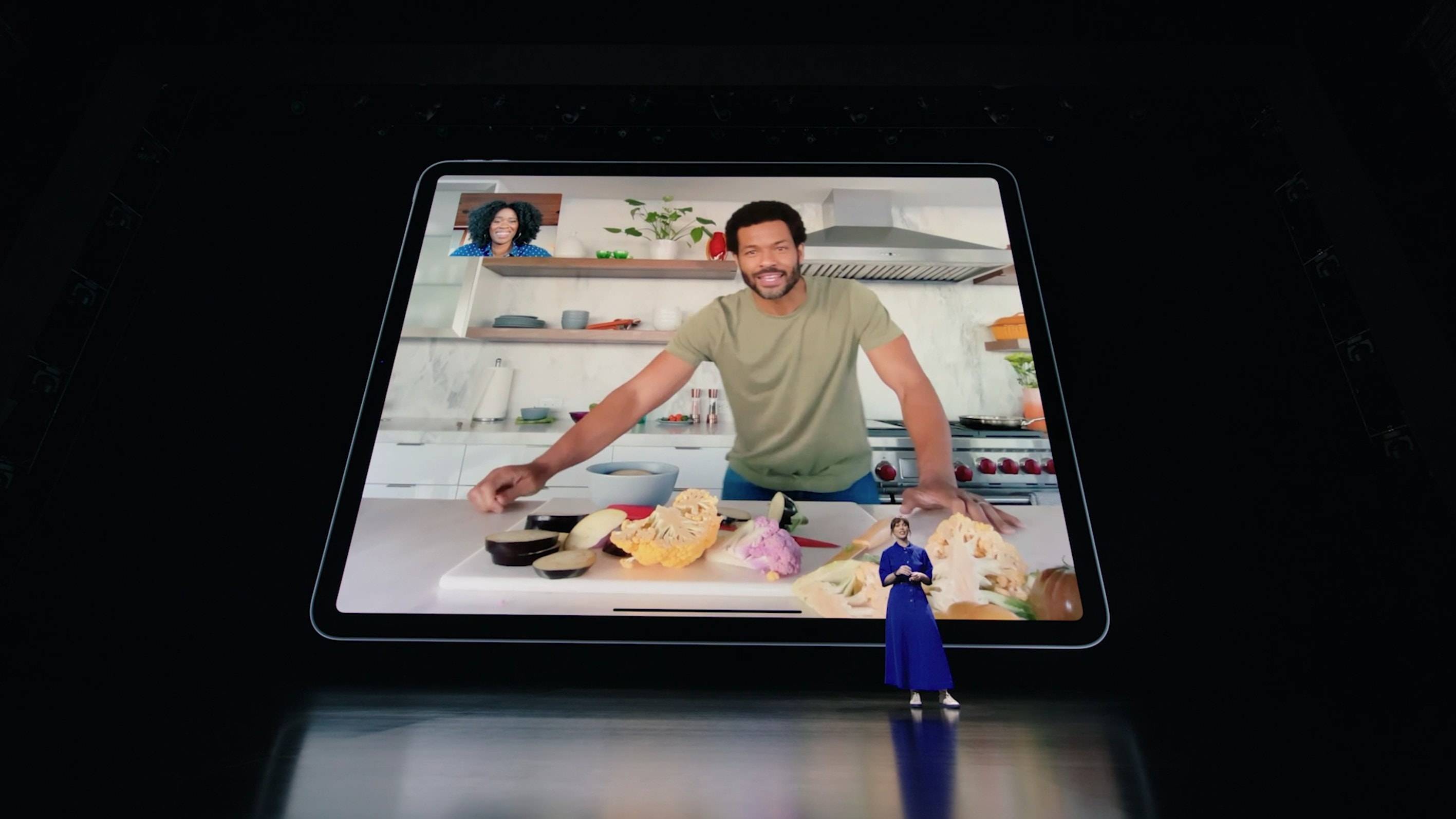 The new iPad Pro's 12MP ultra-wide camera allows a Center Stage feature that follows you around the room during video calls.