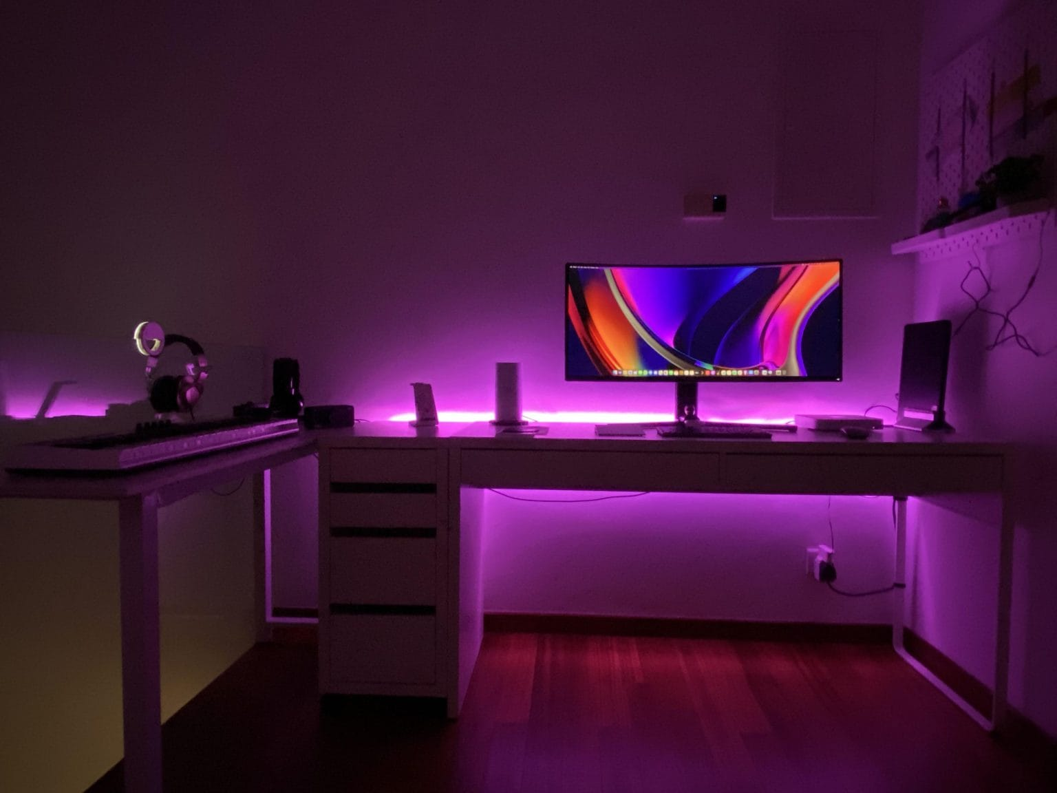 It's amazing what some light strips and display wallpaper can do for ambiance.