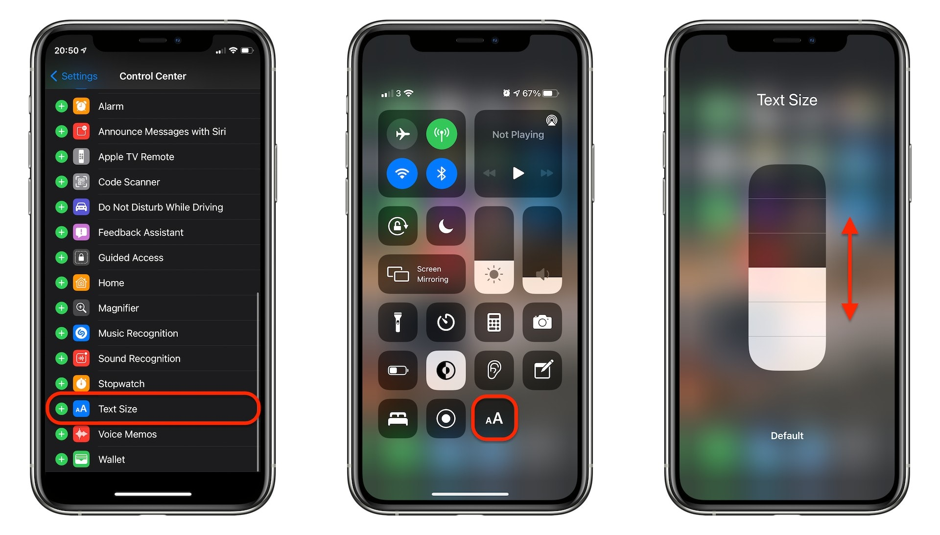 Switch system text sizes on the fly using Control Center