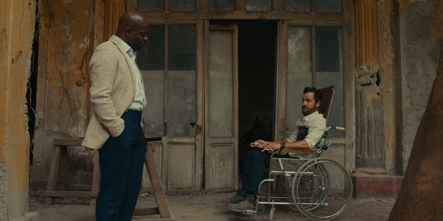 """The Mosquito Coast review: Things get tense between Allie Fox (played by Justin Theroux, right) and Calaca (Paterson Joseph and Justin Theroux in """"The Mosquito Coast,"""" now streaming on Apple TV+."""