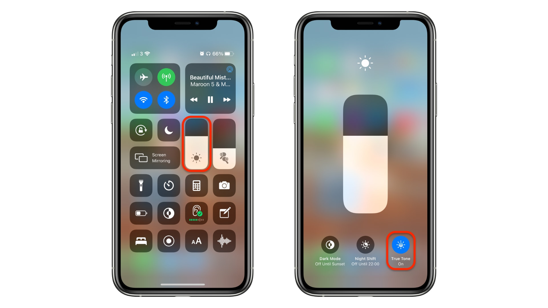 How to toggle True Tone in Control Center