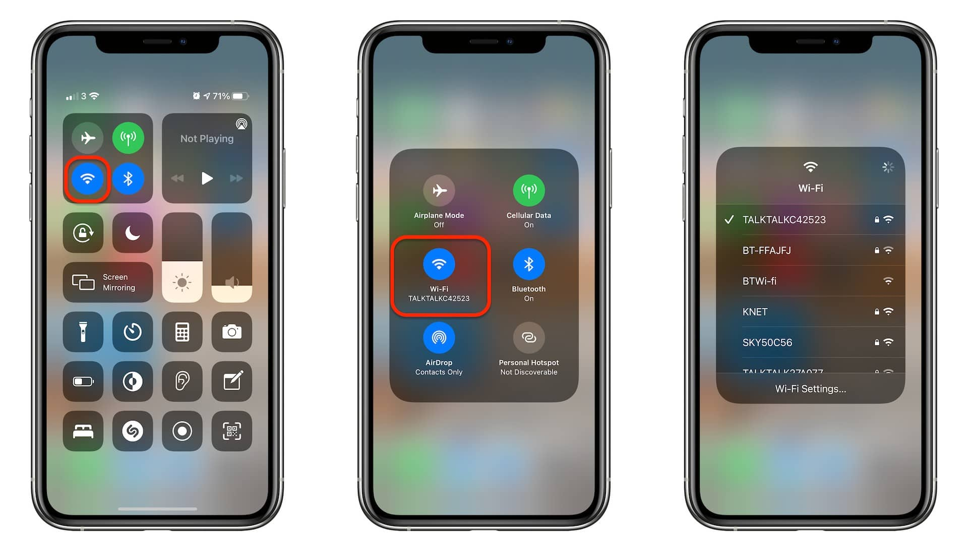 Switch Wi-Fi networks in Control Center