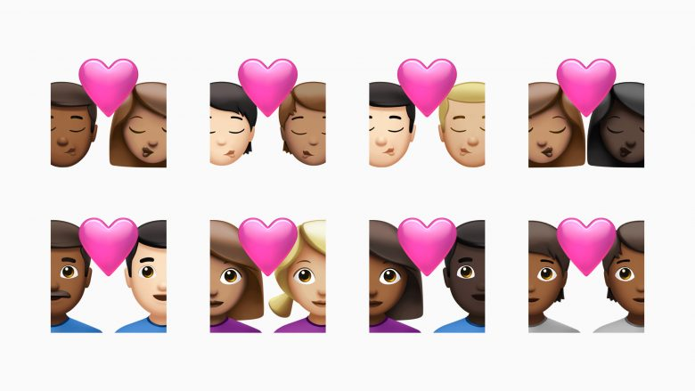 The couple kissing and couple with heart emojis now come in new skin tones.