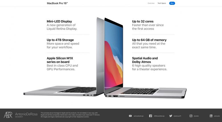 This is a 2021 16-inch MacBook Pro concept, not a leak.