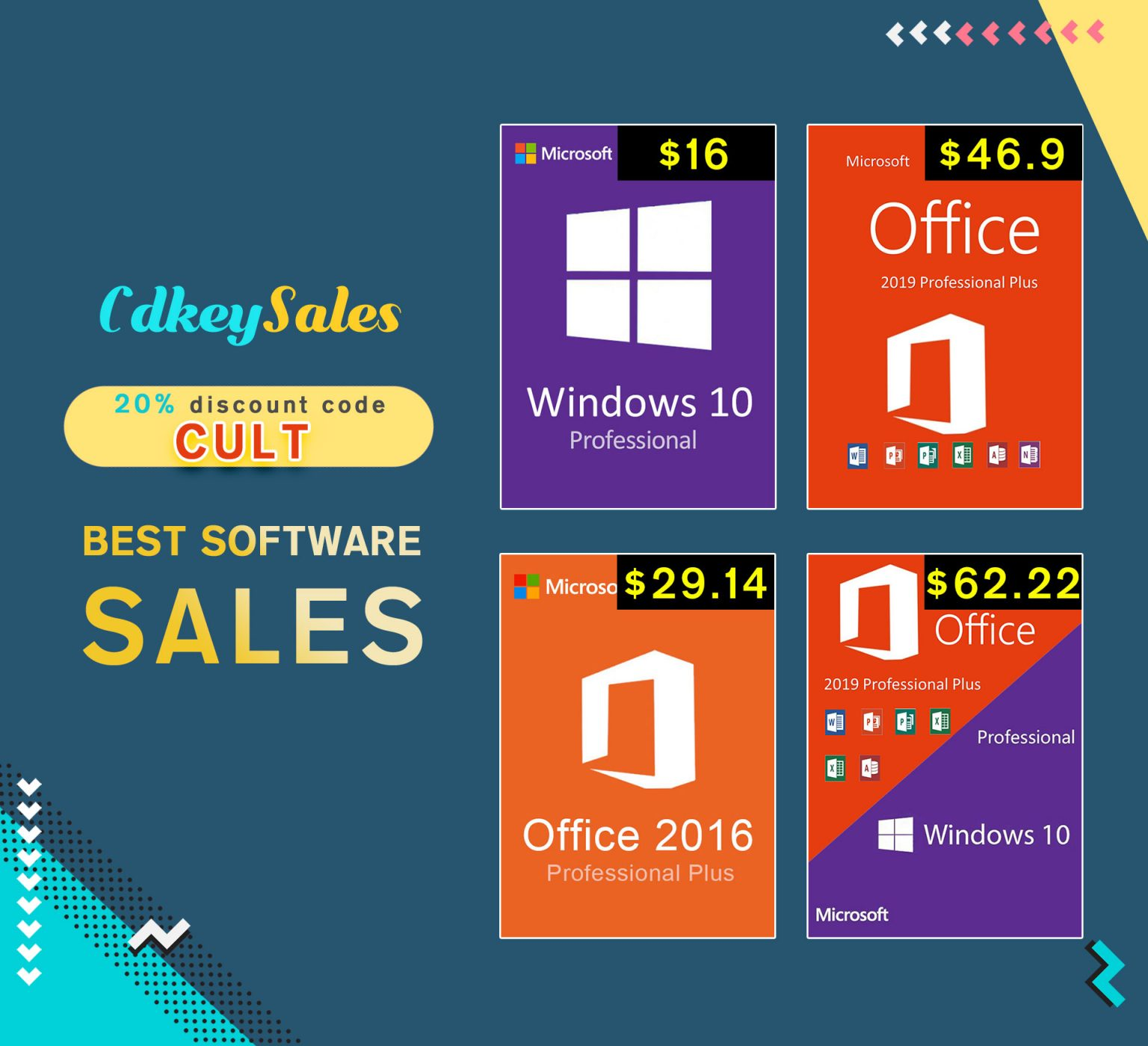 You can now save 20% off Microsoft Officevand Windows activation keys at CdkeySales.com.