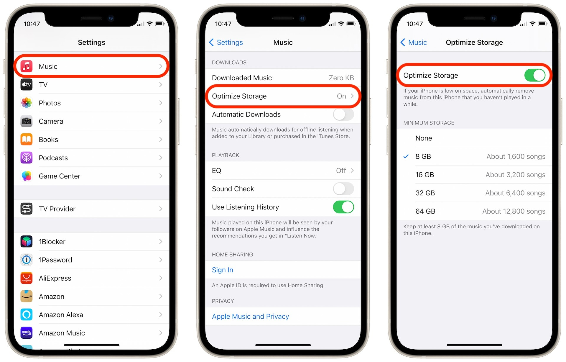 Prevent downloaded music from taking up too much storage on iPhone