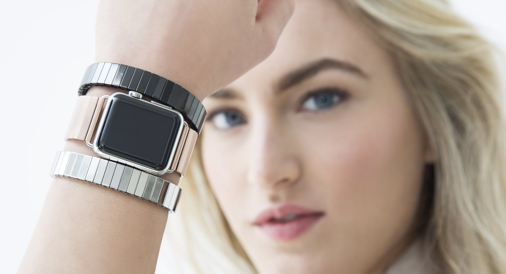 Rilee & Lo's stretch-link Watchband pairs nicely with colorful Stacking Bracelets