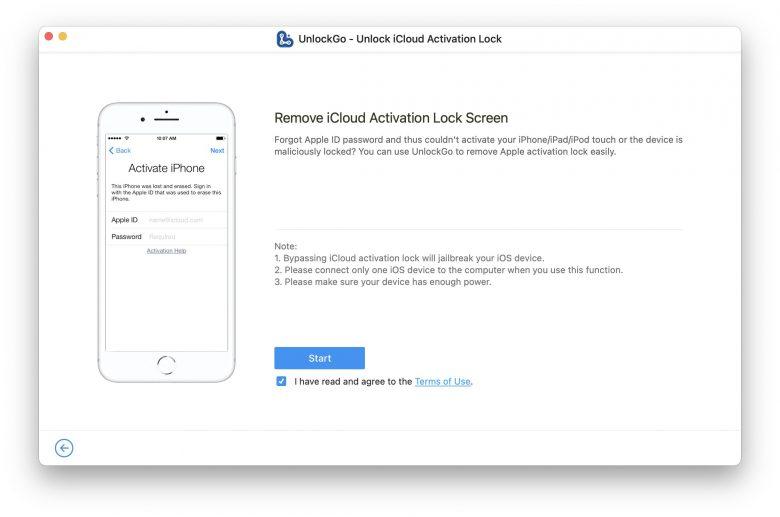iToolab UnlockGo: Remove iCloud activation.