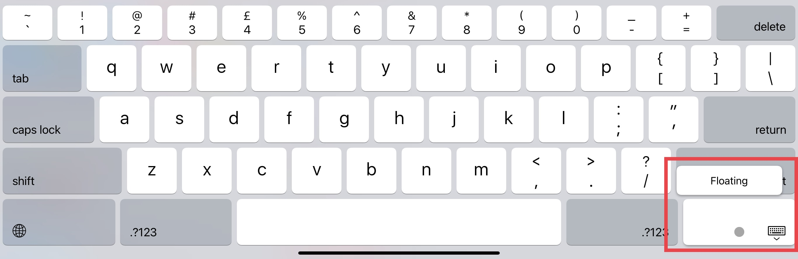 How to enable iPad's floating keyboard: Tap and hold the keyboard button, then select FLOATING