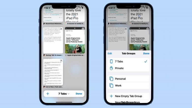 Safari in iOS 15 — Tab Groups