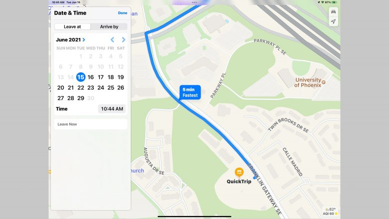 Scheduling departure and arrival times in Apple Maps in iOS 15 and iPadOS 15: You can set the time you wish to leave or the time you need to arrive in Apple Maps in iOS 15 or iPadOS 15