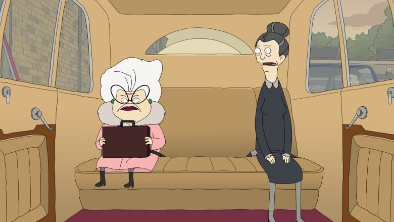 Bitsy (voiced by Stanley Tucci) and Helen (voiced by Daveed Diggs) in