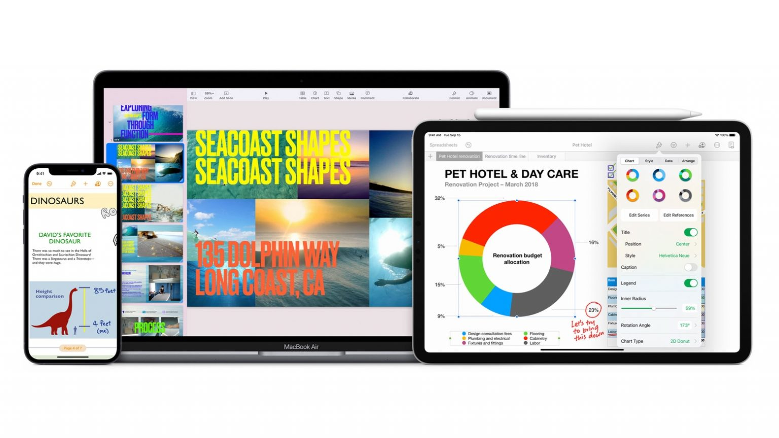 Apple Pages, Numbers and Keynote make up iWork.