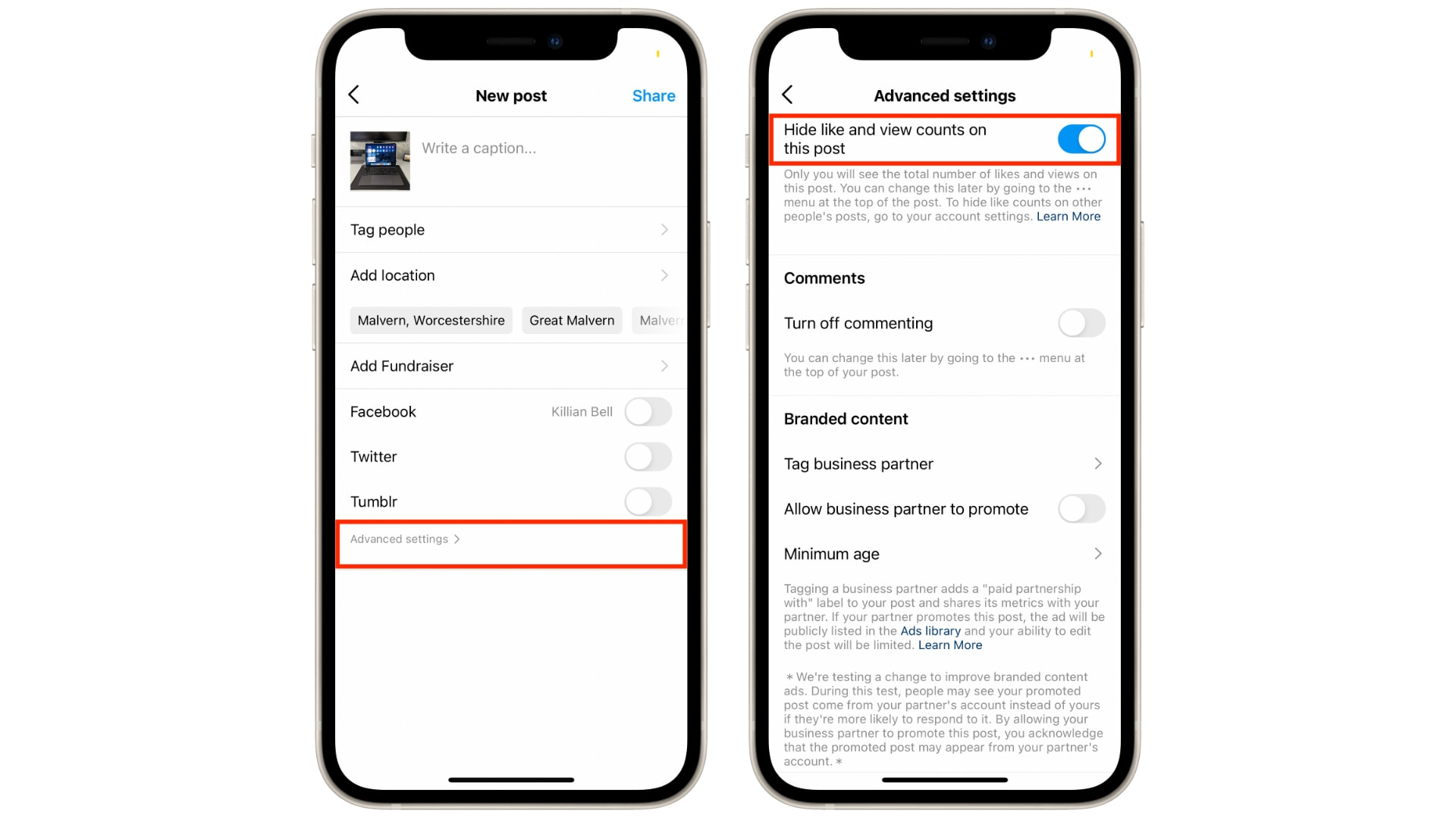 How to hide likes and views on Facebook and Instagram