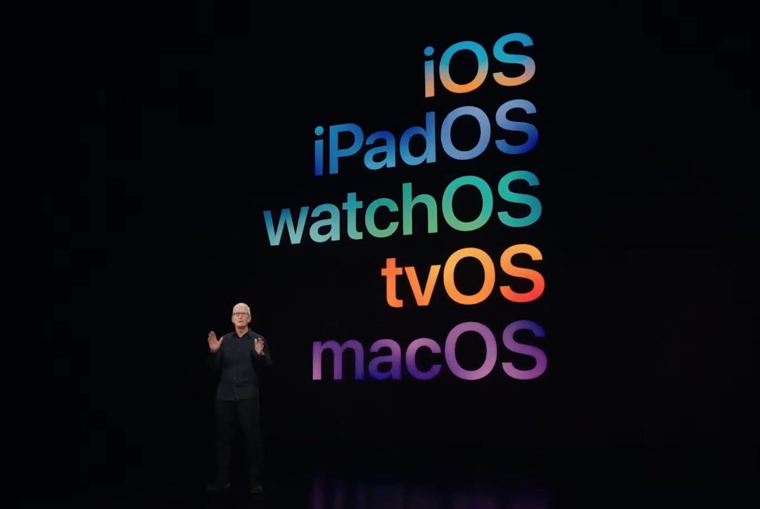 Apple CEO Tim Cook wraps the WWDC21 keynote on June 7, 2021.