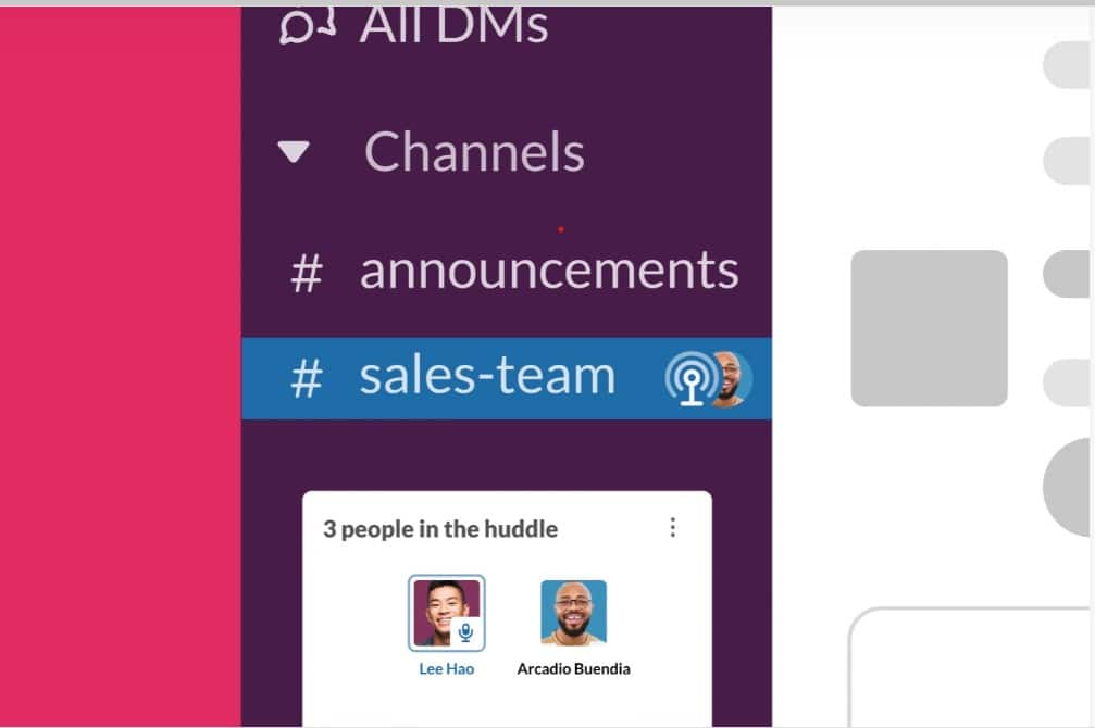 Slack Huddles, or quick audio chats, are easy to set up within the app.