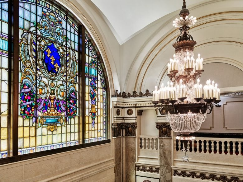 The restored stained glass windows in Apple Tower Theatre look stunning.