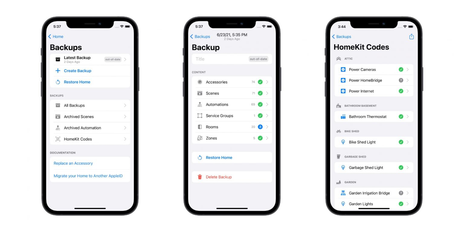 Controller for HomeKit 5.4 lets you back up your database, store codes and more.
