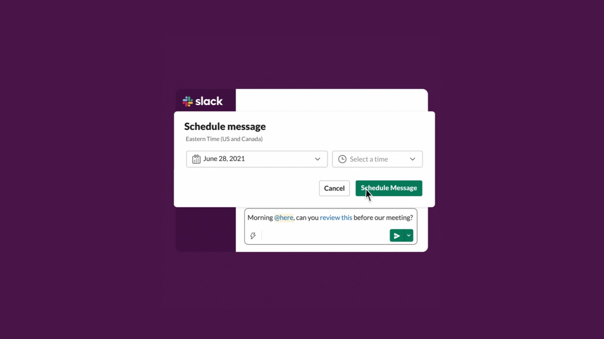 How to schedule messages in Slack