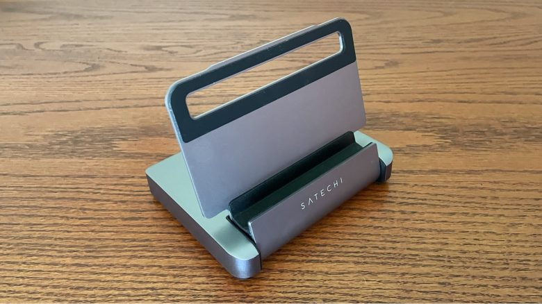 Satechi Aluminum Stand & Hub for iPad Pro unfolds to be a stand.