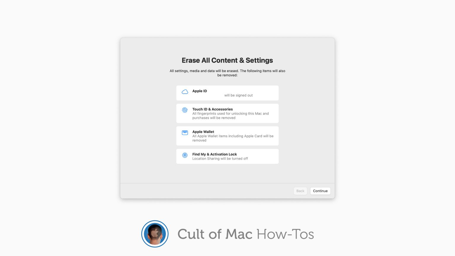 How to erase contents and settings in macOS Monterey