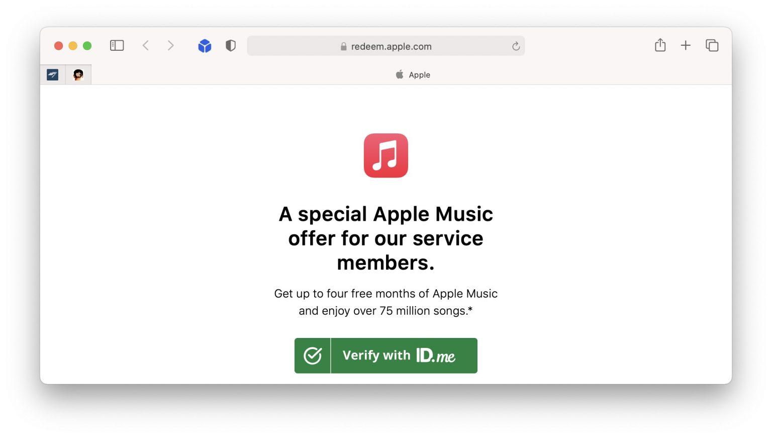 Apple Music military offer