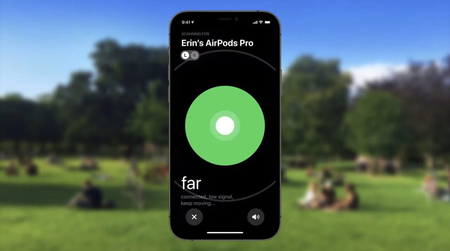 Locating AirPods with Find My