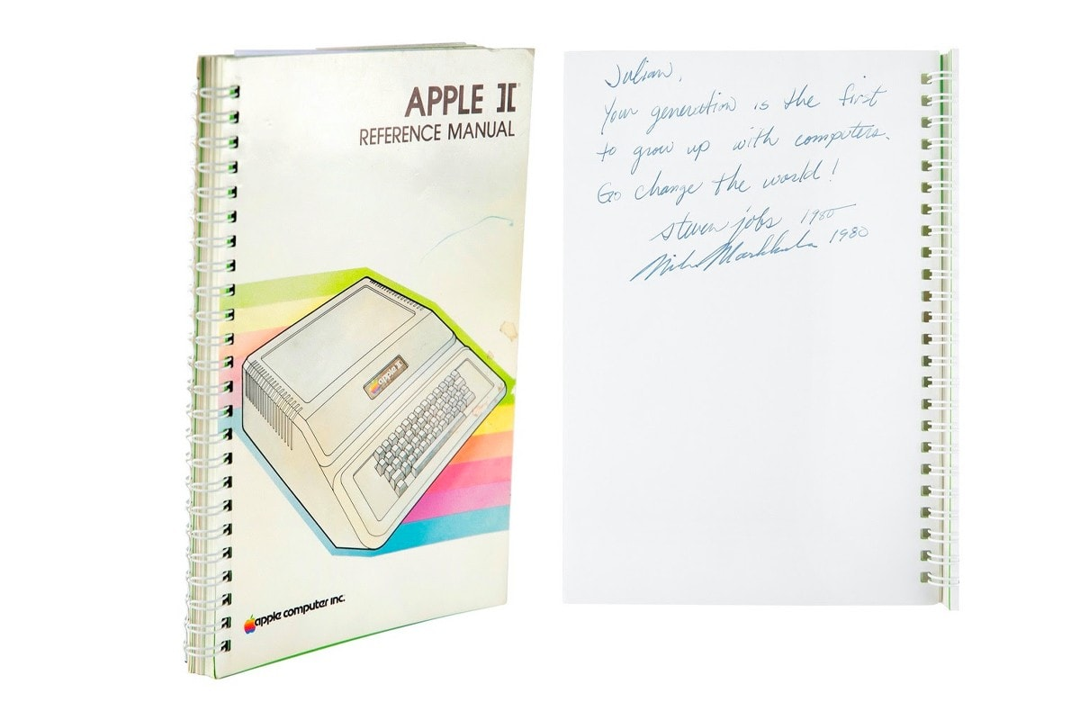 An Apple II manual from 1980 inscribed by Steve Jobs sold at auction for nearly $800,000.