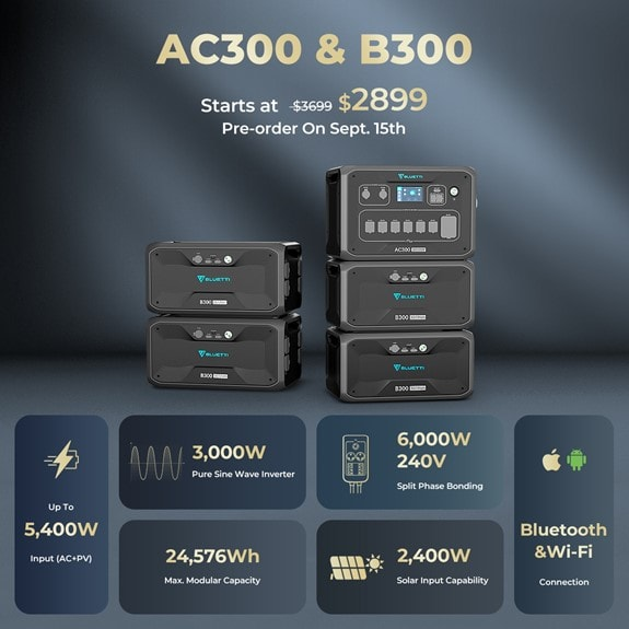 For bigtime power needs, pair the Bluetti AC300 station with the B300 battery module.