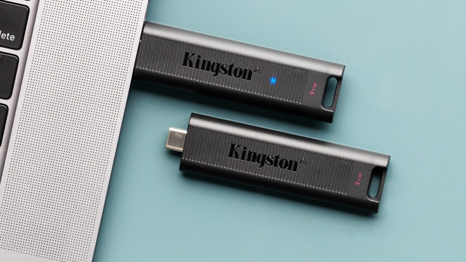 The high-speed Kingston DataTraveler flash drive comes in sizes up to 1TB.