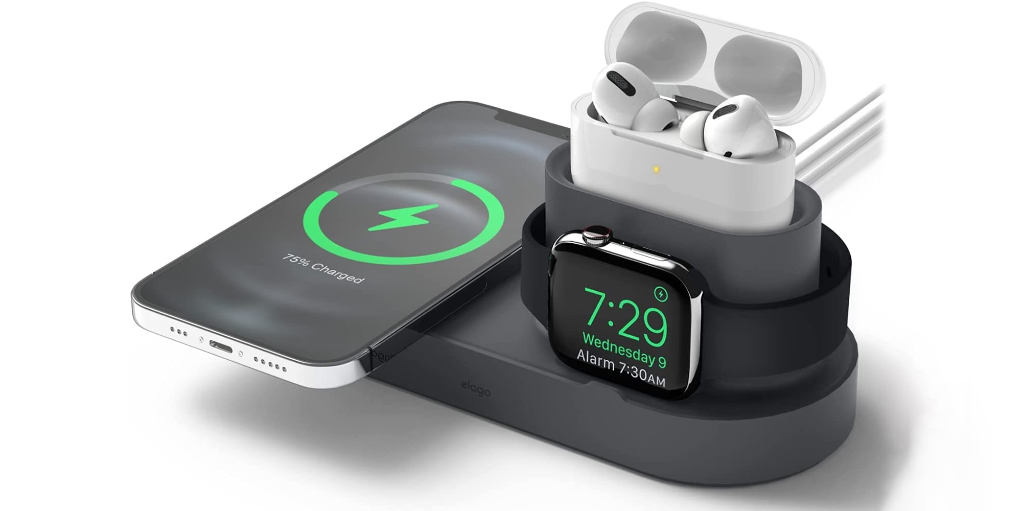 Elago's MS1 Trio Charging Hub juices up an iPHone, Apple Watch and Airpods.