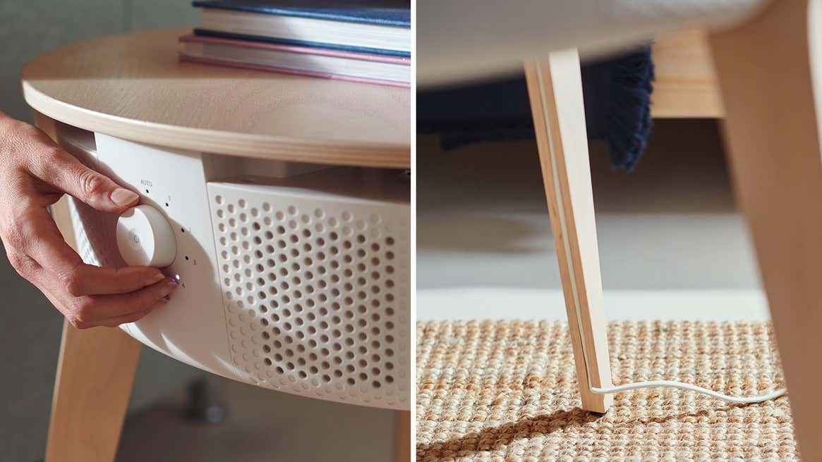 Ikea's new smart air purifier can be disguised as part of a table.