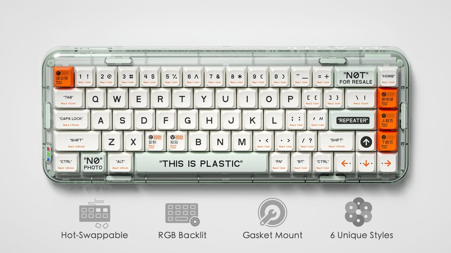 MelGeek's new Mojo68 mechanical keyboard is see-through.