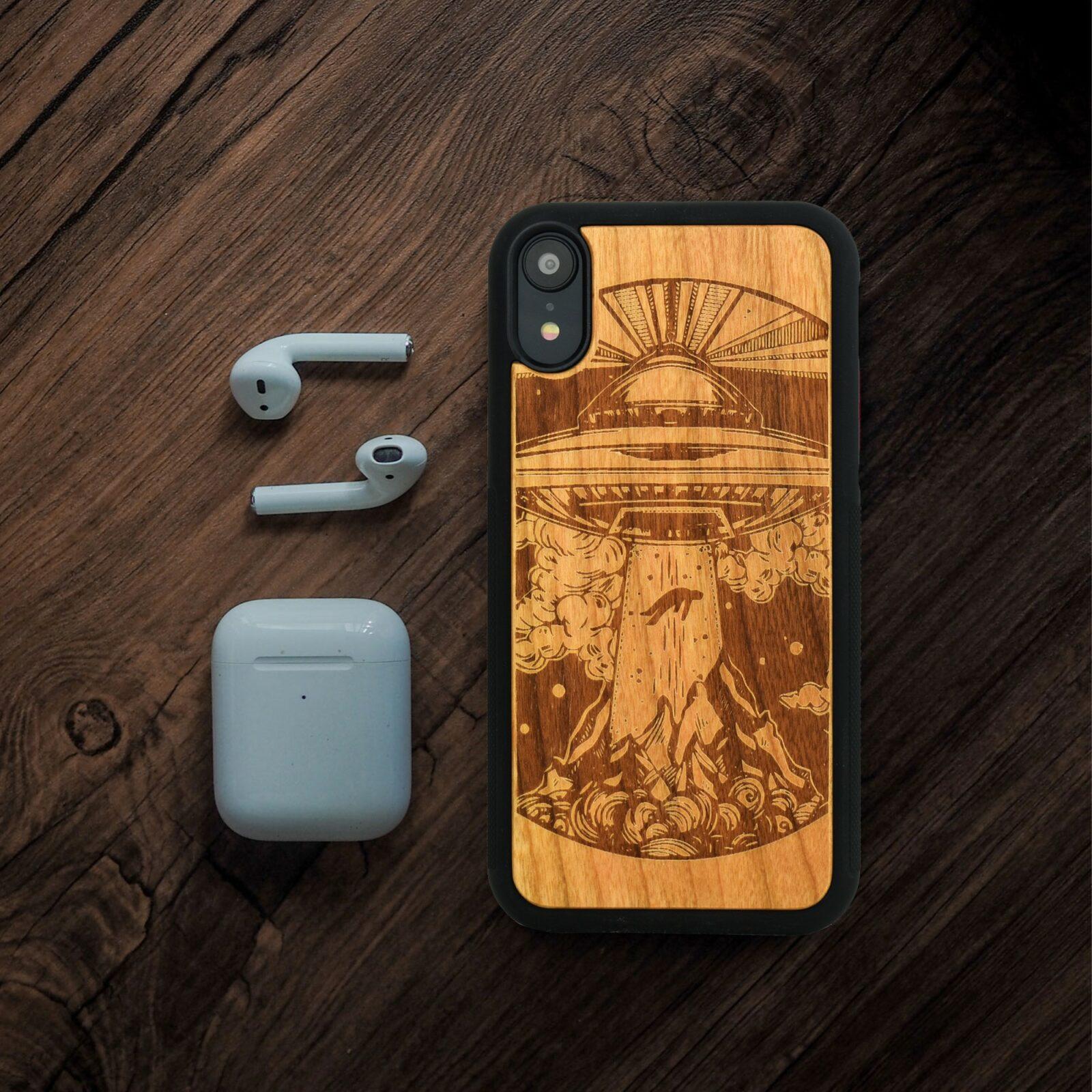 Alien Spaceship Wooden iPhone Case