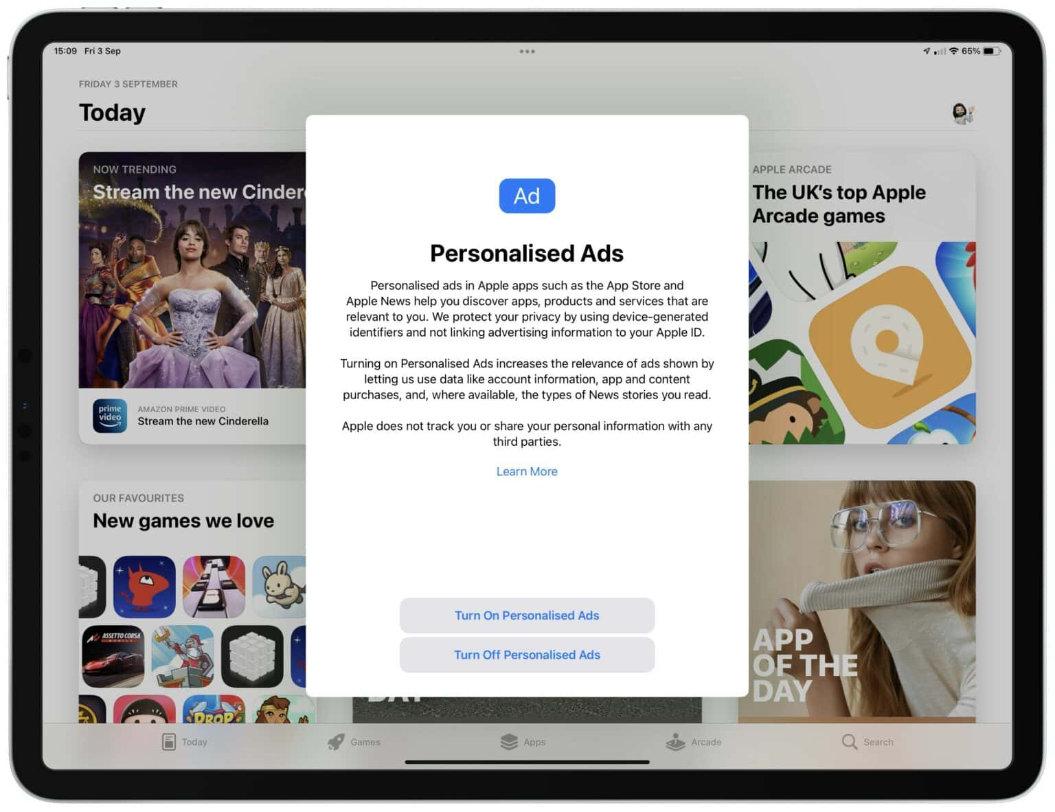 Personalized ads popup in iOS 15