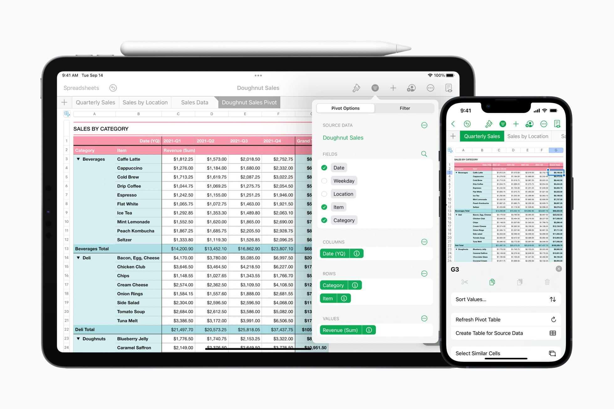 With pivot tables on iPhone, iPad, and Mac, users can quickly summarize, group, and rearrange data to identify and analyze patterns and trends.