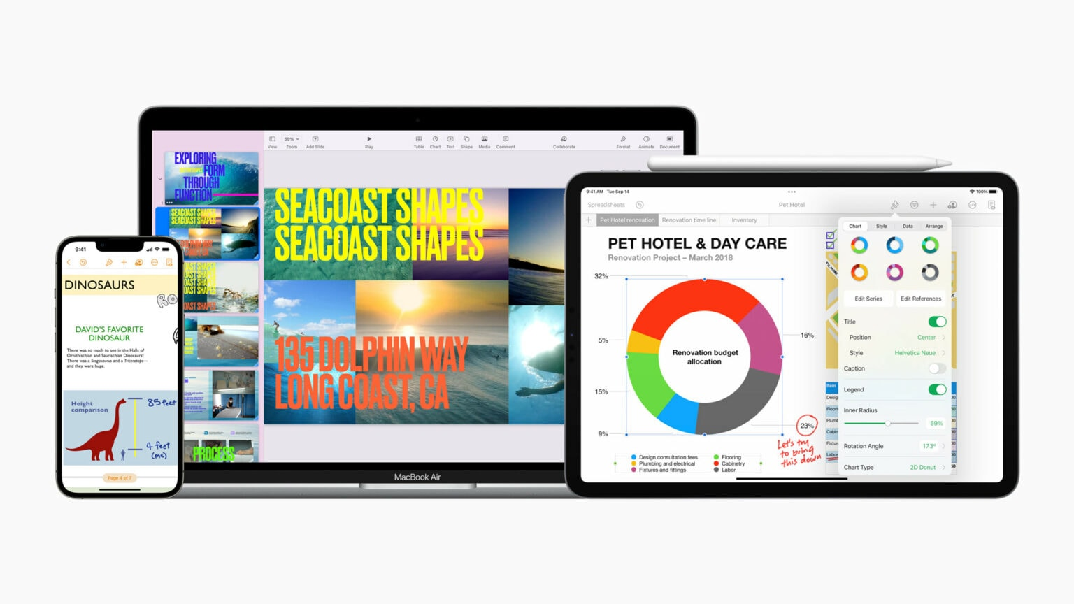 Updates to Keynote, Pages and Numbers help you out with remote presentations and work on the go.