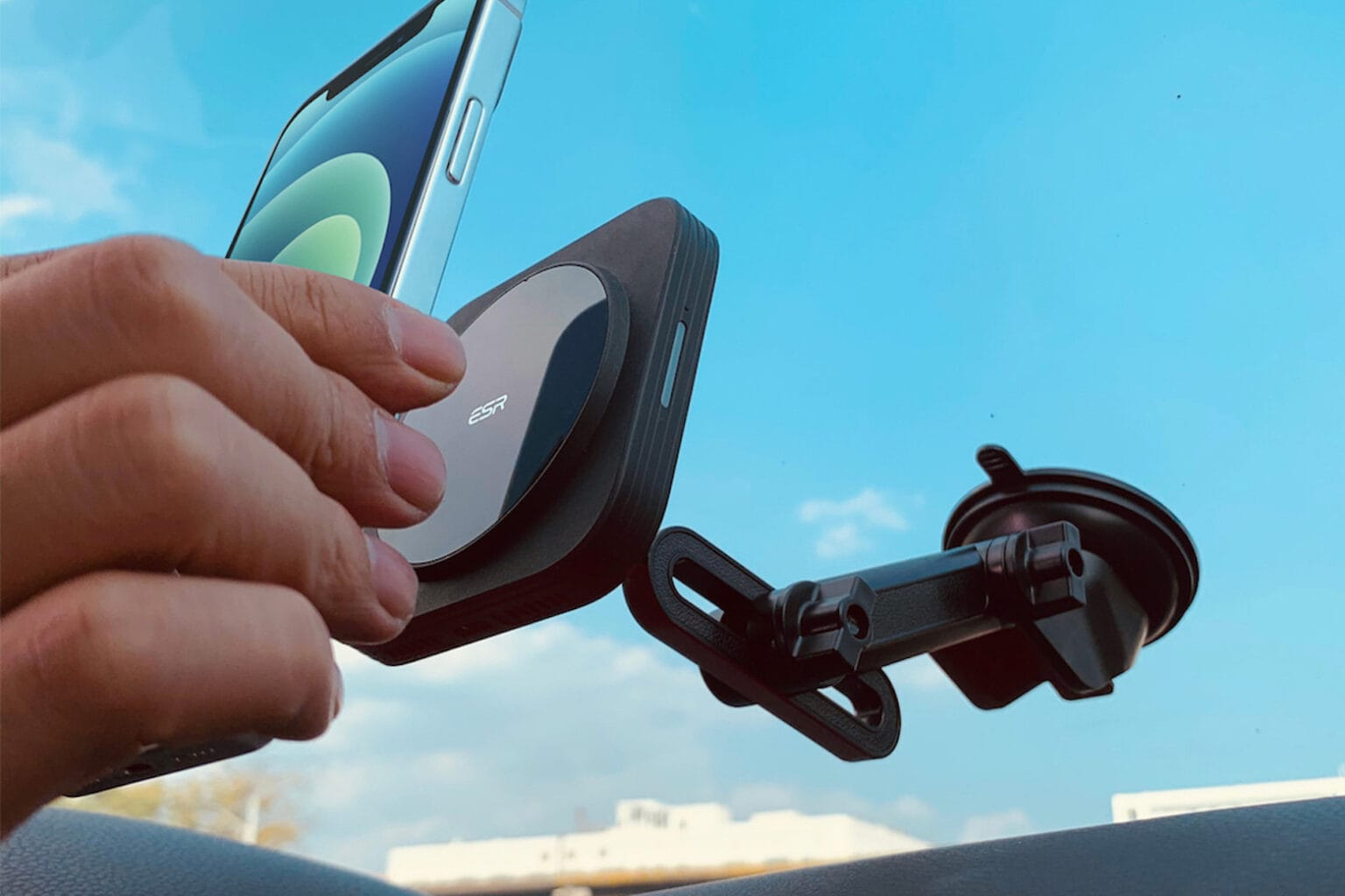 This iPhone 12 car mount is also a wireless charger.