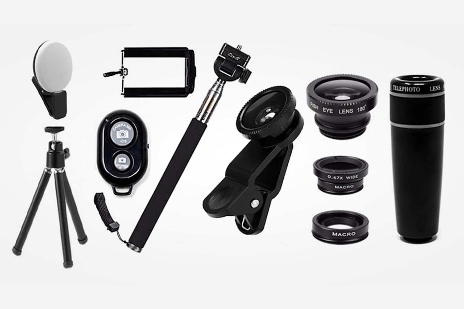 Take your shot with this 11-piece phone camera accessory bundle.