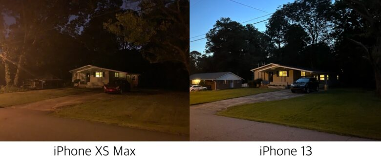 iPhone XS Max low light image vs. iPhone 13 low light image