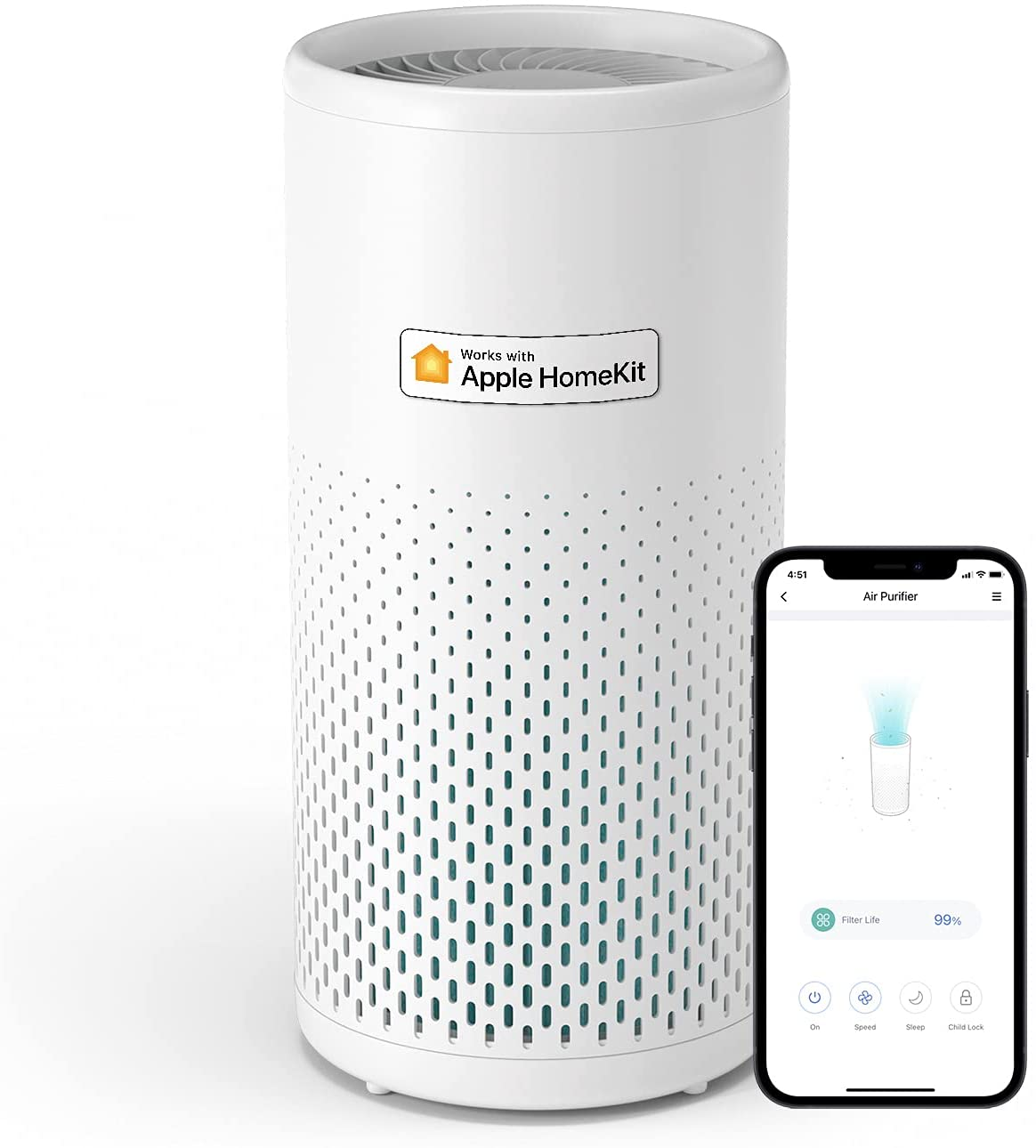 The new Meross MAP100 Smart Wi-Fi Air Purifier works with HomeKit.
