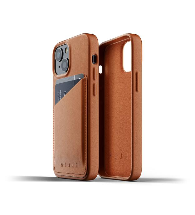 Mujjo's leather wallet case of iPhone 13 lets you carry some cash and cards, too.