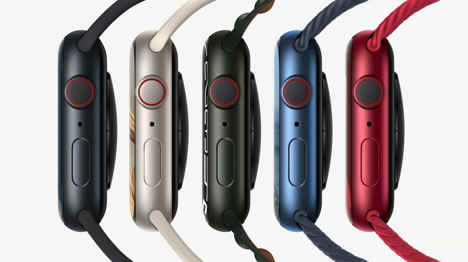 The aluminum Apple Watch Series 7 comes in five colors.