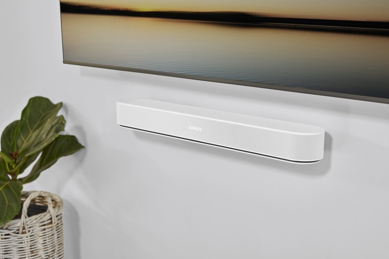 The Sonos Beam Gen 2, in black or white, can sit in front of a TV or be mounted easily.