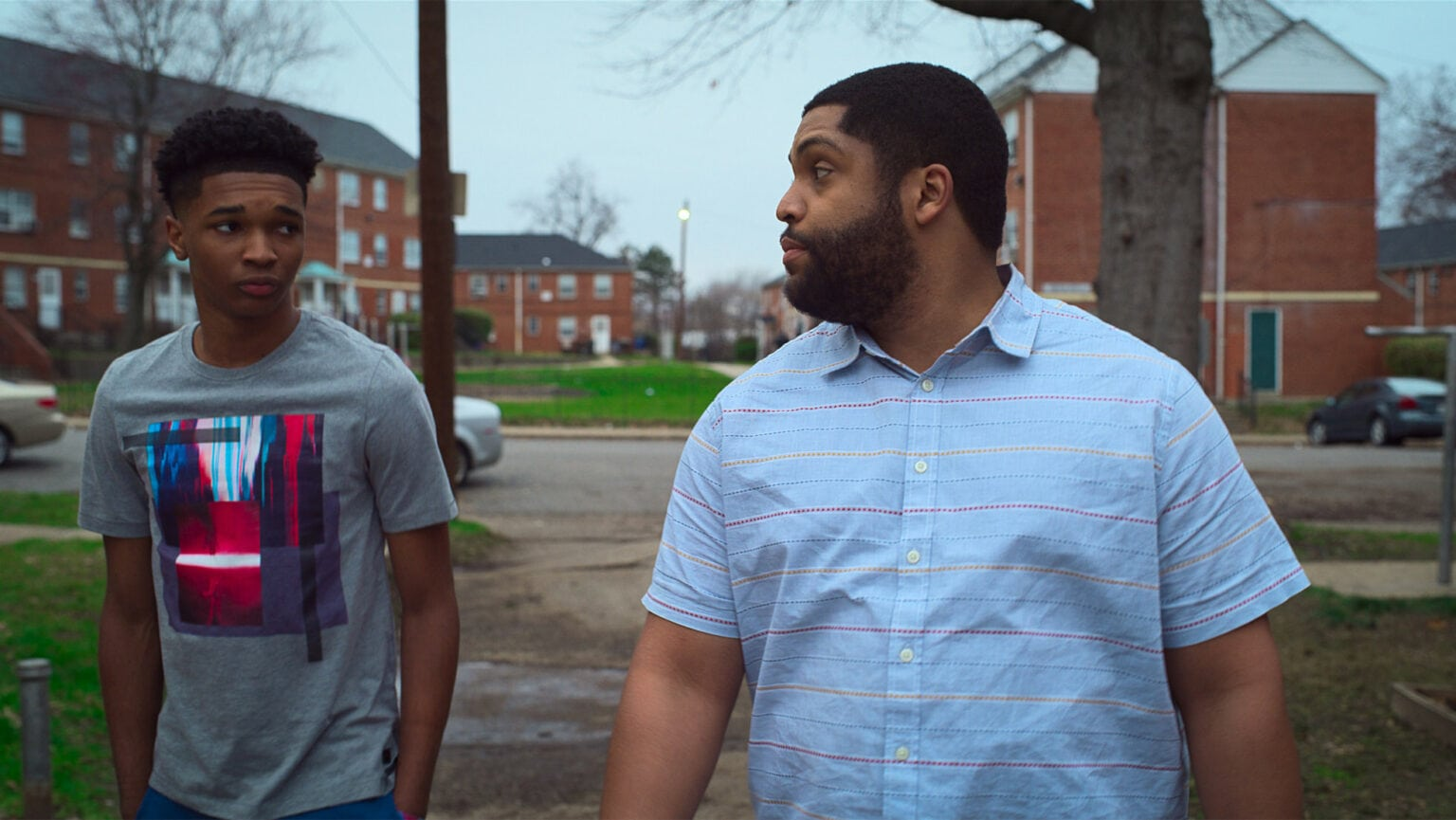 Isaiah Hill and O'Shea Jackson Jr. in Swagger, premiering globally October 29, 2021 on Apple TV+.