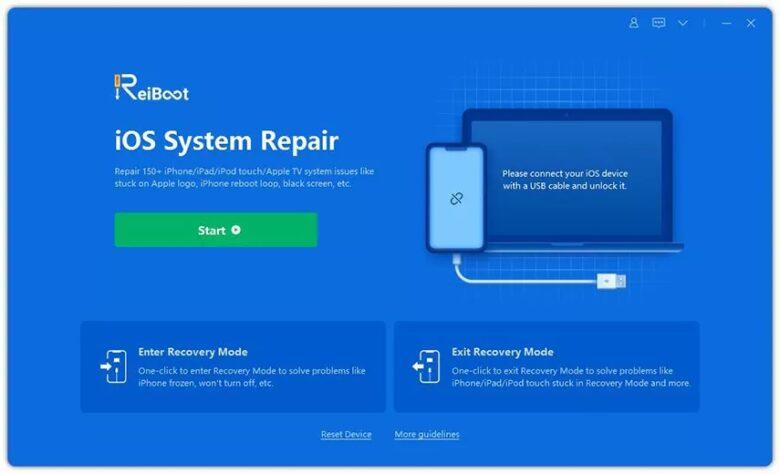 Tenorshare ReiBoot iOS System Repair screen.
