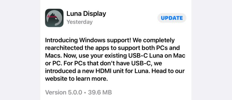 Luna Display 5.0 is now on the App Store.