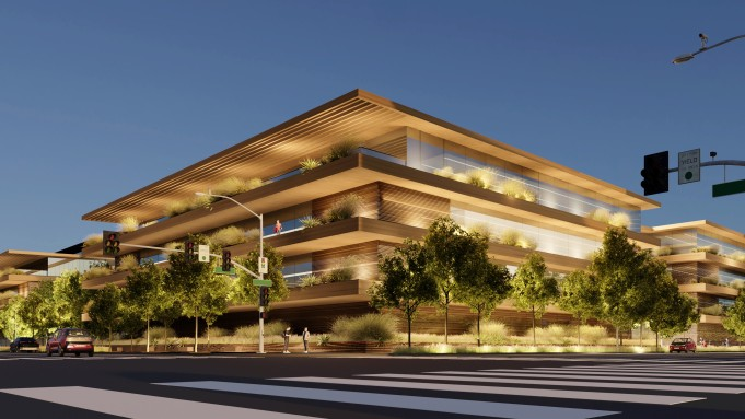 An artist's rendering shows Apple's planned facility on the LA-Culver City border.