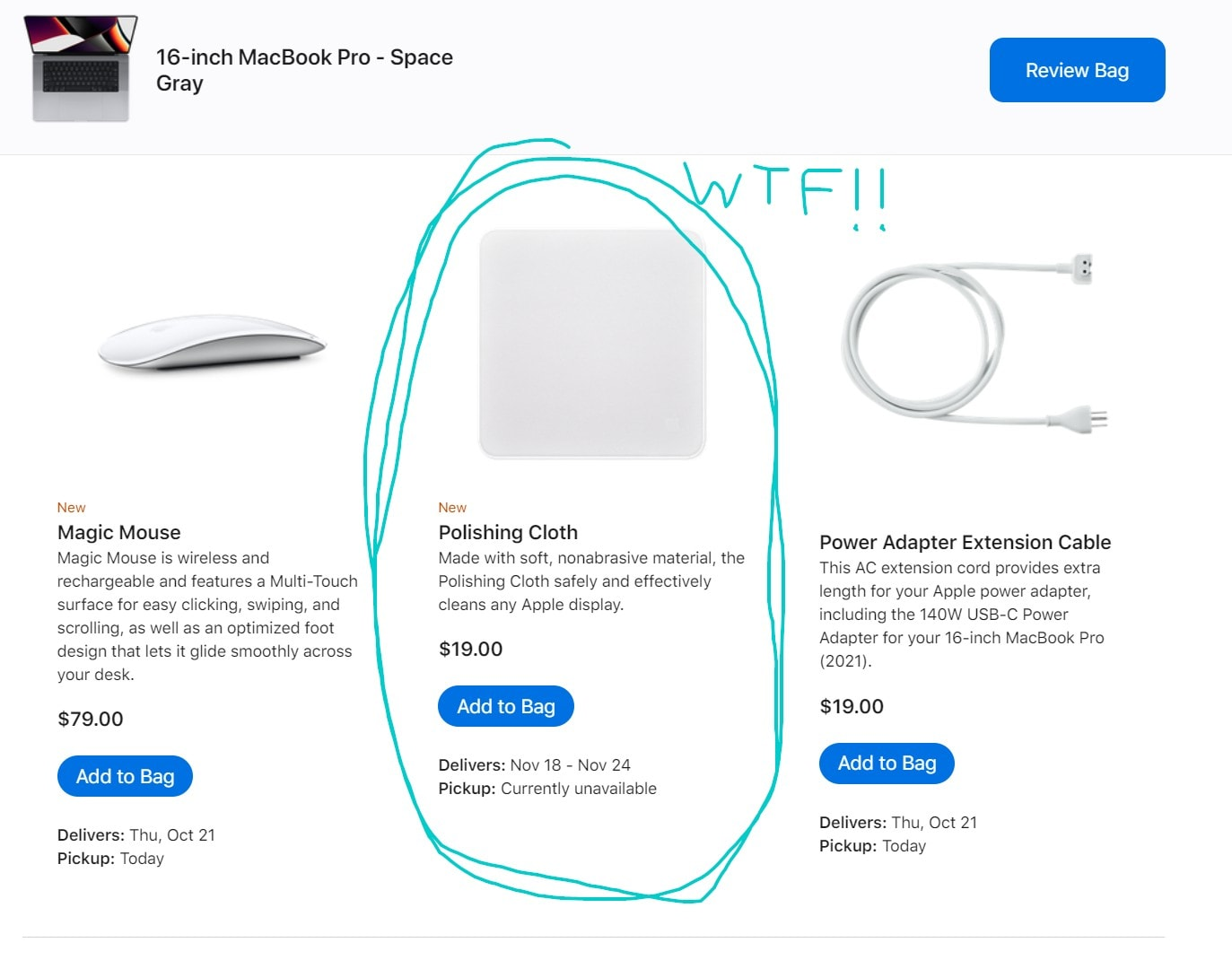 Apple Polishing Cloth sherlocks CultCloth. I did not expect to see this new product in Apple's online store.