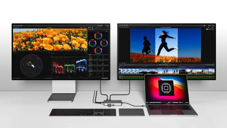 Get a M1 MacBook with dual monitors with the HyperDrive Dual 4K HDMI 10-in-1 USB-C Hub.